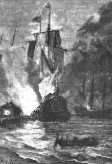 Grabado del libro 20.000 leguas de viaje submarino, de Julio Verne, sobre los galeones de la Flota de la Plata