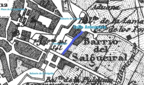 Plano de 1856 con la antigua calle Antequera al lado de la Puerta del Sol