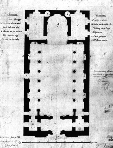Concatedral. Plano original de la planta.
