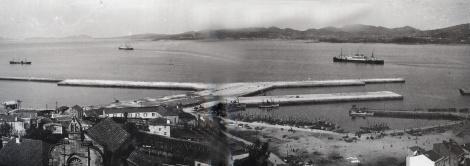 El Berbés en 1935 con el nuevo espigón. Fotografía Sarabia