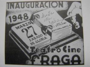Cartel de inauguración del cine Fraga. Fotografía Vigo, la ciudad olívica