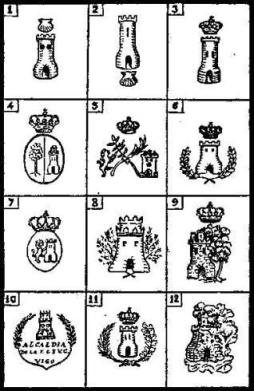 Evolución del escudo de Vigo. Del libro Tierra de Fragoso