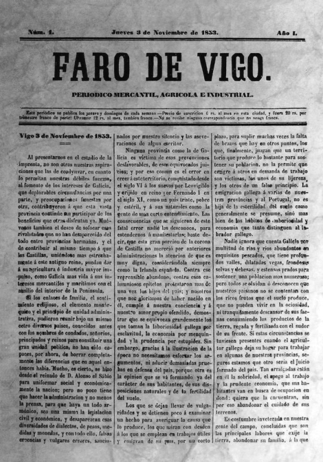 Faro de Vigo: primer ejemplar del 3 de noviembre de 1853