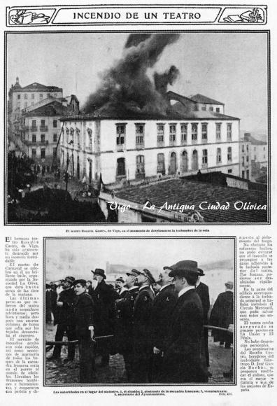 Noticia en el periódico del incendio del teatro Rosalía de Castro. Fotografía Vigo la antigua ciudad olívica