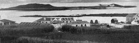 Isla de Toralla desde Canido con la antigua fábrica. Fotografía Vida Gallega