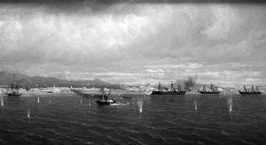 Bombardeo de los fuertes de El Callao. Pintura en el Museo Naval de Madrid