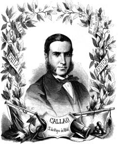 Grabado de la época con las victorias de Méndez Núñez