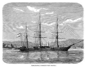 Corbeta de vapor Narváez. Grabado de época