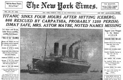 Noticia en el New York Times del hundimiento del Titanic