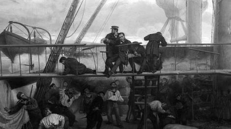 El almirante Méndez Núñez herido en el combate del Callao. Pintura del Museo Naval de Madrid