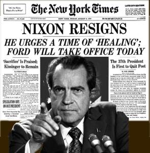 Portada del New Yor Times. Nixon dimite