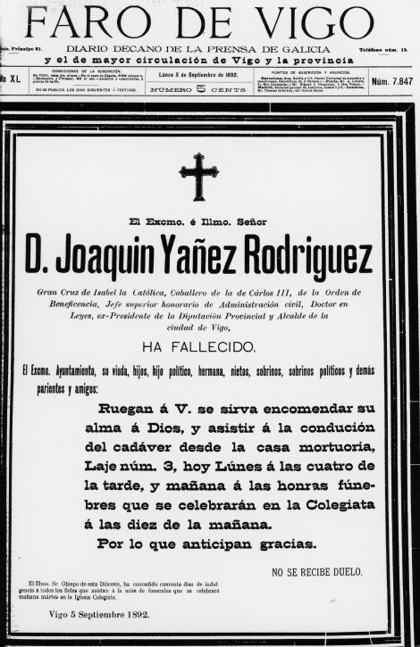 Portada del Faro de Vigo el día del fallecimiento de Joaquín Yáñez