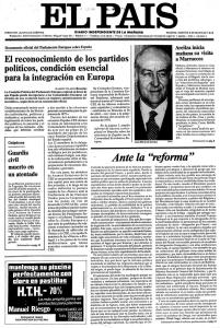 Primer número del nuevo diario El País.