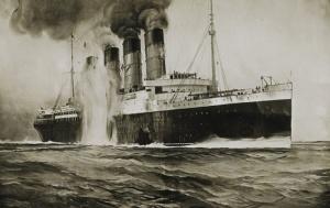 Dibujo del New York Herald que representa el hundimiento del Lusitania.