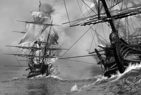 Combate entre barcos corsarios