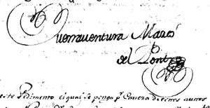 Documento con la firma de Buenaventura Marcó del Pont