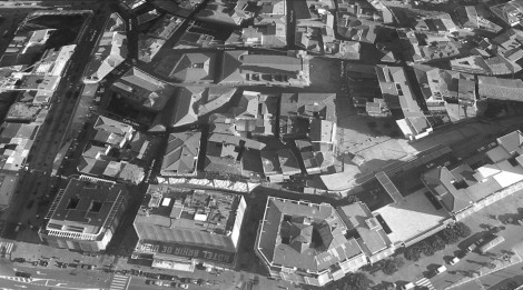 La zona de la Laxe y la Colegiata en una imagen de hoy en día de Google Earth