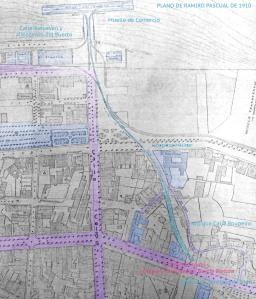 Plano de Ramiro Pascual del Puerto en 1910.  Se ven los antiguos edificios del puerro en Montero Ríos, el recorrido del tren y la salida del túnel en el barrio del Roupeiro