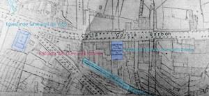 Plano de Ramiro Pascual de 1910. Entrada del túnel paralela a la calle Alfonso XIII. Se ven la antigua fábrica de harinas La Molinera ( hoy edificio donde está el Bingo ) y la iglesia de Santiago de Vigo
