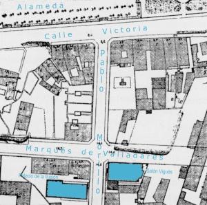 Plano del ingeniero Ramiro Pascual de 1917. Recorte de la zona de la Alameda con los cines