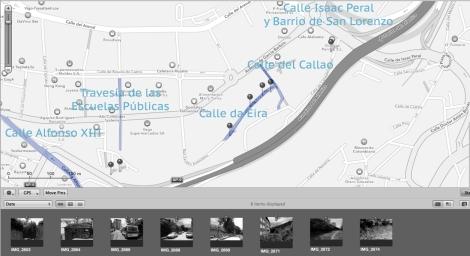 La vía bajaba hacia el Puerto desde el barrio de San Lorenzo a la altura de la calle Canadelo Bajo ( hay un resto de un puente ) cruzaba la calles del Callao ( hay otro resto del muro ) y Eira, seguía paralela a Garcá Barbón ( por detrás de las actuales torres del Club Financiero, descendía por detrás de la Travesía de las Escuelas Públicas hasta Alfonso XIII, cruzaba a la altura de la iglesia de Santiago de Vigo, seguía por la calle Inés Pérez de Ceta y terminaba en en Concepción Arenal y el antiguo muelle. En esta foto se puede ver la correlación con fotos actuales que muestran antiguos vestigios de su recorrido