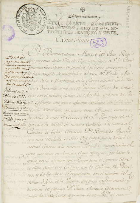 Carta del 4 de marzo de Buenaventura Marcó del Pont. Hoja primera