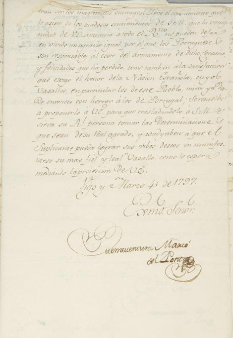 Carta del 4 de marzo de Buenaventura Marcó del Pont. Hoja tercera