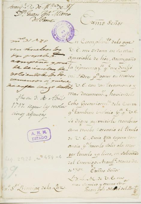 Carta del 30 de marzo de Juan Joseph Marcó del Pont.