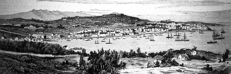 Una vista del Arenal y la villa de Vigo al fondo, en un grabado del siglo XIX.