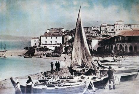 El baluarte de San Telmo en una fotografía coloreada de Pacheco.