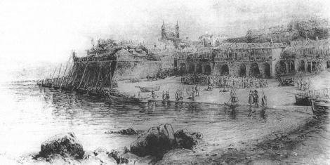 En este grabado más antiguo se observa el baluarte defiende la ciudad por la ribera en un estado de mejor conservación y funcionalidad.