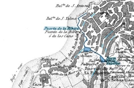 Zona del mapa de Francisco Coello de Vigo trazado en 1856, donde se ve el recorrido de la muralla y las pequeñas callejuelas que desembocan en el Berbés.