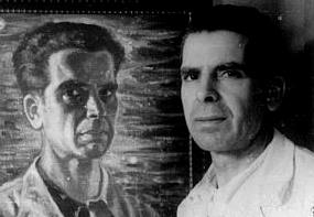 Carlos Maside frente a su autorretrato