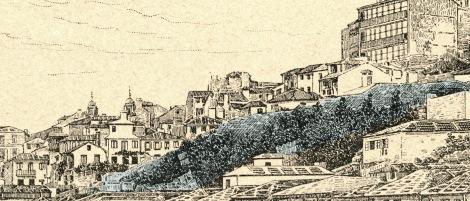 Detalle sobre el grabado de la parte correspondiente al lienzo de la antigua muralla que asciende hasta la Falperra y el castillo de San Sebastián