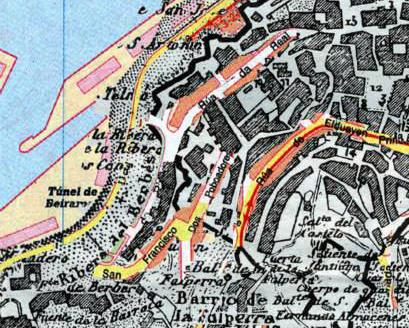 El antiguo mapa de Madoz con el Berbés y la muralla con las calles y el puerto de hoy en día superpuestos. Edición digital de Uxío Noceda.