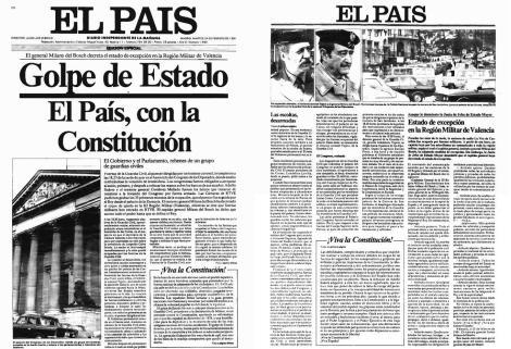 Portada de El País del 24 de febrero de 1981.
