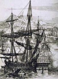 Dibujo de un galeón español del siglo XVIII como los hundidos en la batalla de Rande.