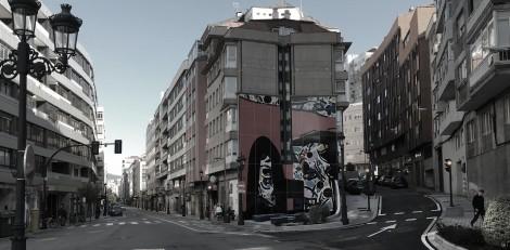 Mural de Antón Pulido en el cruce de Peniche. Fotografía Eduardo Galovart.