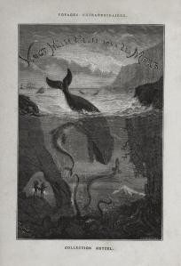 Página ilustrada del libro original de Veinte mil leguas de viaje submarino.