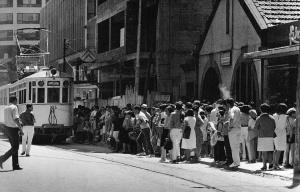 Antigua parada de tranvías en la calle Uruguay. Fotografía Magar